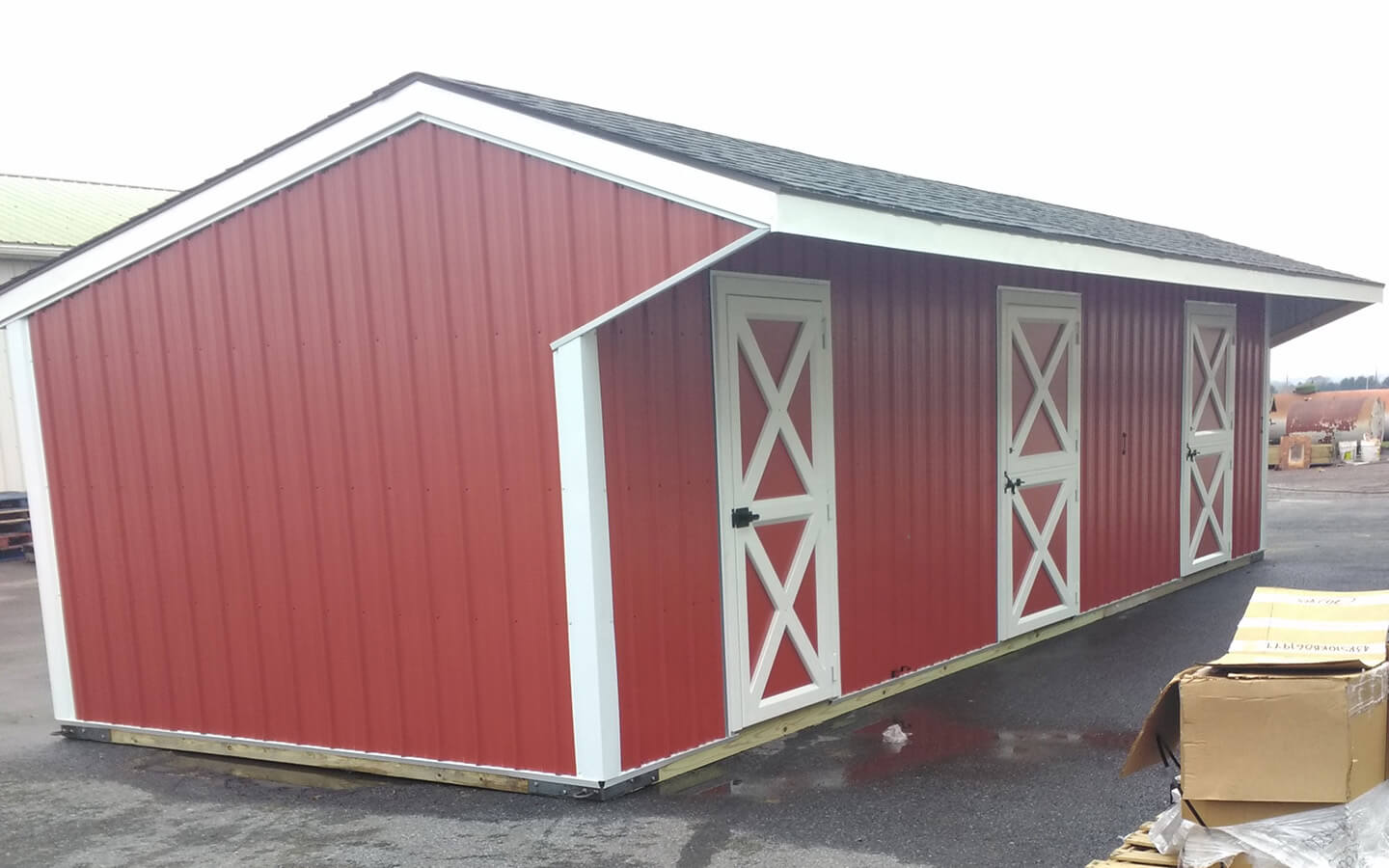 10x36 w/4 ft overhang; metal siding & shingle roof