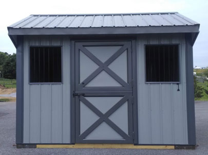 blue 8x10 one stall horse barn