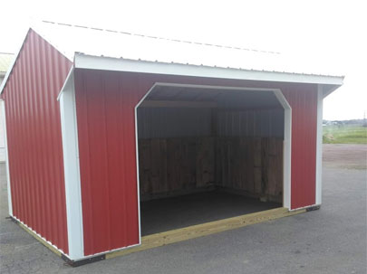 10x16; red run in shed