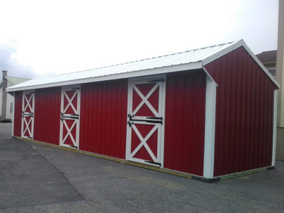 red 10x36 three stall horse barn